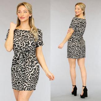 NEW2104 Beige Leopard-Kleid mit Knöpfen