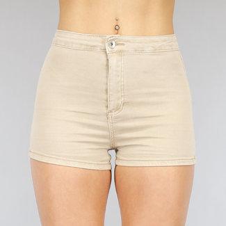NEW2104 Grund Beige High Waist Shorts mit Stretch
