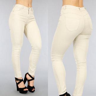NEW2104 Grund Beige mit hohen Taille Jeans mit Stretch