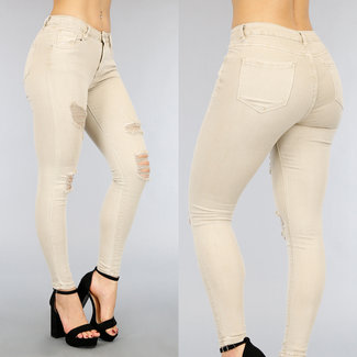 NEW2104 Beige High Waist Jeans mit Rissen