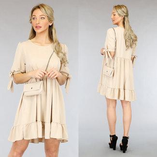 NEW2104 Beige lässige Babydoll-Kleid-Tasche