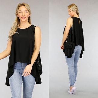 NEW2104 Asymmetrische Schwarz Top mit Tasche