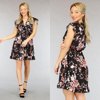 NEW2104 Schwarz Plissee-Kleid-Rosa-Blumendruck