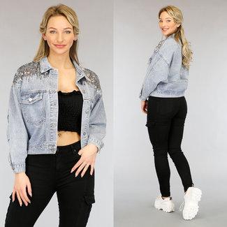 NEW2104 Blue Jeans-Jacke mit Pailletten und Strass