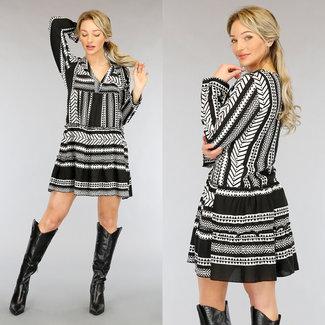 NEW2104 Loose-Fit Aztec Bluse Kleid