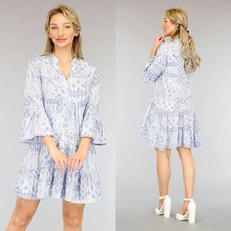 NEW2104 Light Blue Lose Fit Aztec Bluse Kleid