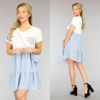 NEW2104 Hellblau / Weiß-Kleid Tasche