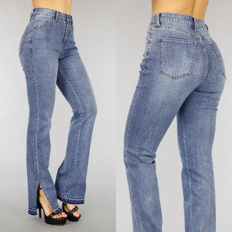 NEW2804 Hohe Taille Ausgestellte Jeans mit Slits