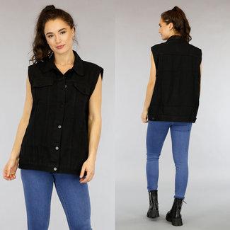 Schwarz übergroße Jeans Gilet