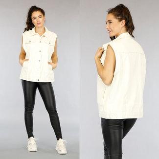Beige Maxi-Jeans Gilet