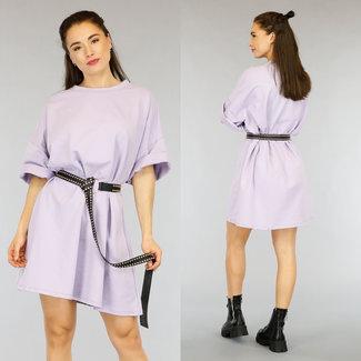 NEW2804 Lila Übergroßes T-Shirt-Kleid