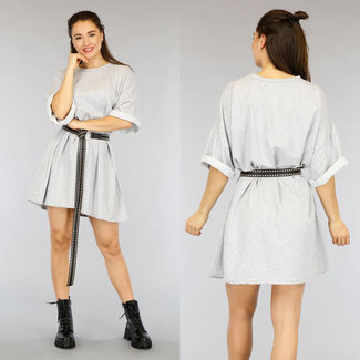 NEW2804 Grau Übergroßes T-Shirt-Kleid