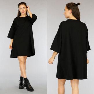 NEW2804 Schwarz Übergroßes T-Shirt-Kleid
