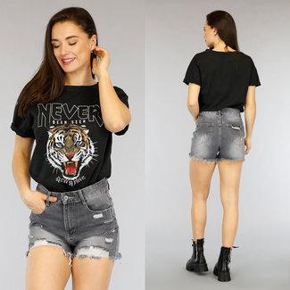 NEW2804 Schwarz lässiges Tiger-T-Shirt