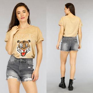 NEW2804 Beige lässiges Tiger-T-Shirt