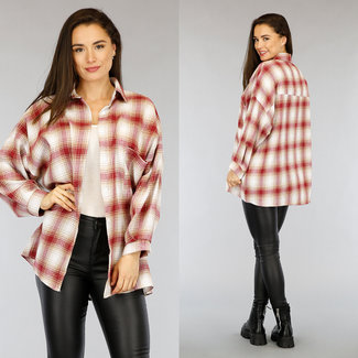NEW2804 Beige / Red Block Bluse