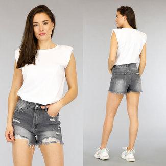 Basic Weiß Hemd Schulterpolster