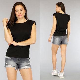 Basic Black Hemd mit Schulterpolstern