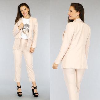 NEW2804 Powder Pink Zweiteilige Blazer Set mit Hosen