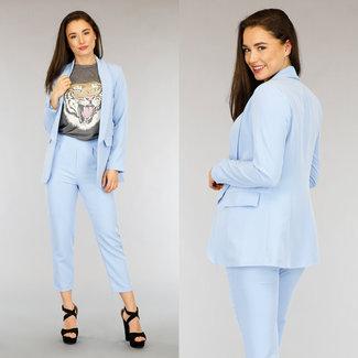 NEW2804 Light Blue Zweiteilige Blazer Set mit Hosen