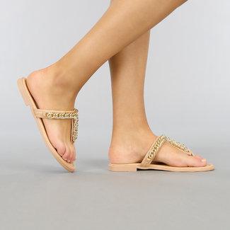 NEW2804 Beige Flip-Flops mit Goldkette