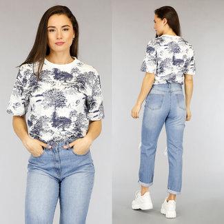 NEW2804 Weiß Übergroßes T-Shirt Blue Animal Print