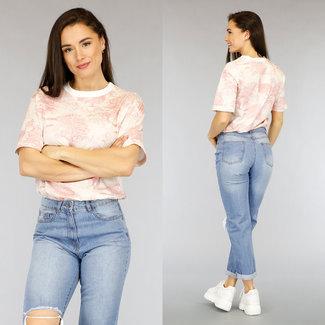 NEW2804 Ecru Maxi-T-Shirt Rosa Tierdruck