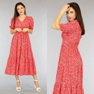 Rote Blumen-Maxi-Kleid mit Knöpfen