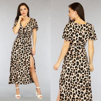 NEW2804 Brown Leopard-Druck-Maxi-Kleid mit Split