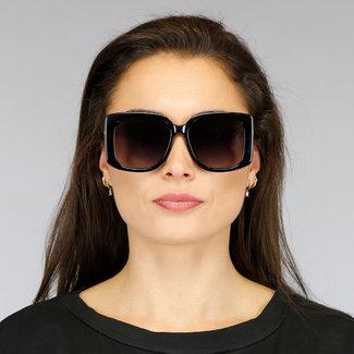 Große schwarze Sonnenbrille mit Gold Legs