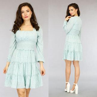 NEW0505 Grüne Blumendruck-Kleid mit Rüschen