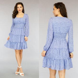 NEW0505 Blaue Blumendruck-Kleid mit Rüschen