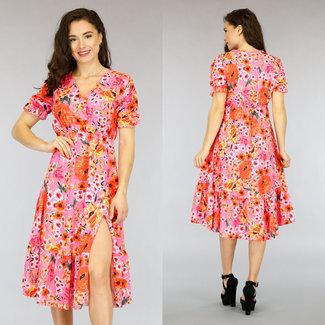 NEW0505 Rosa gefaltete Blumendruck-Kleid mit Split