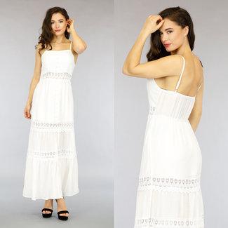 NEW0505 Weiß Maxi Sommerkleid mit Crochet-Details