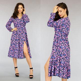 NEW0505 Kleid rosa Blumendruck und Split