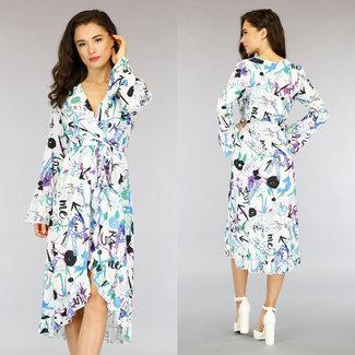 NEW0505 Graffiti-Druck Mullet Kleid mit langen Ärmeln