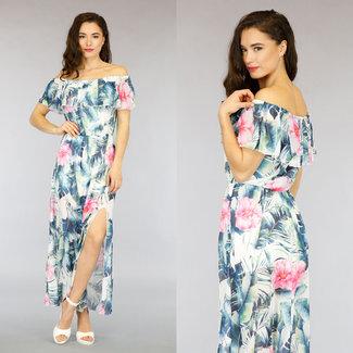 NEW0505 Weiß Off-Shoulder-Kleid in Blatt drucken