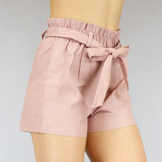 NEW0505 Rosa-Leder-Blick Paperbag Short