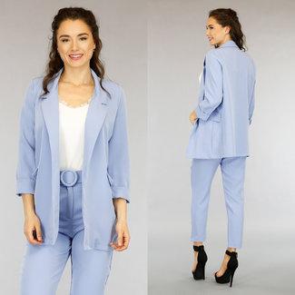 NEW0505 Light Blue Blazer mit Dreiviertelärmeln