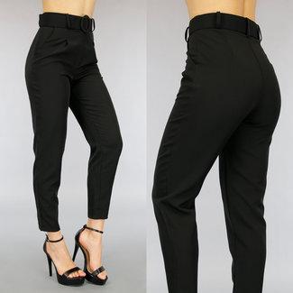 NEW0505 Schwarze Hose mit Gürtel
