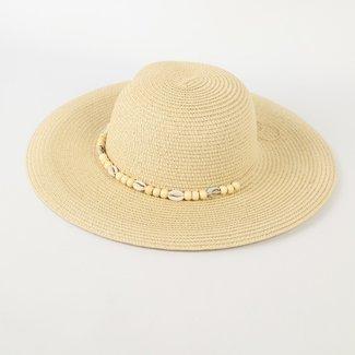 NEW0505 Beige Sommer-Hut mit Muscheln