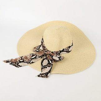 NEW0505 Big Beige Sommer-Hut mit Schlangenfalle