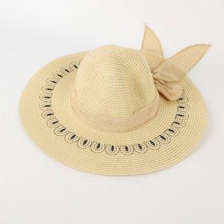 Beige Sommer-Hut mit Bogen-und Leinwand-Druck