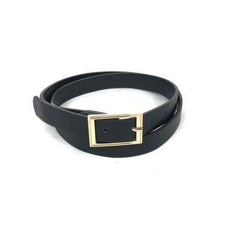 NEW1205 Basic Black Lederoptik Gürtel mit Goldschnalle