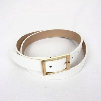 Basic Weiß Lederoptik Gürtel mit Goldschnalle