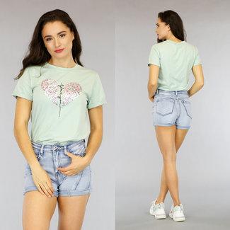 NEW1205 Helles T-Shirt mit Pailletten Herz