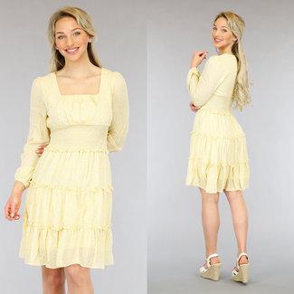 NEW1205 Gelbe Blumendruck-Kleid mit Rüschen