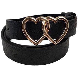 Schwarz-Leder-Blick-Bügel mit Herz Schnalle