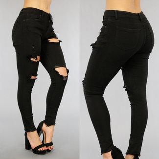 NEW1905 Schwarz mittlere Taillen-Jeans mit Rissen