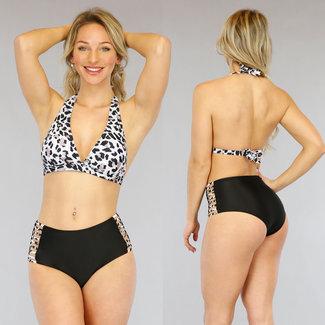 NEW1905 Hohe Taille Leopard-Druck-Bikini mit Riemchen